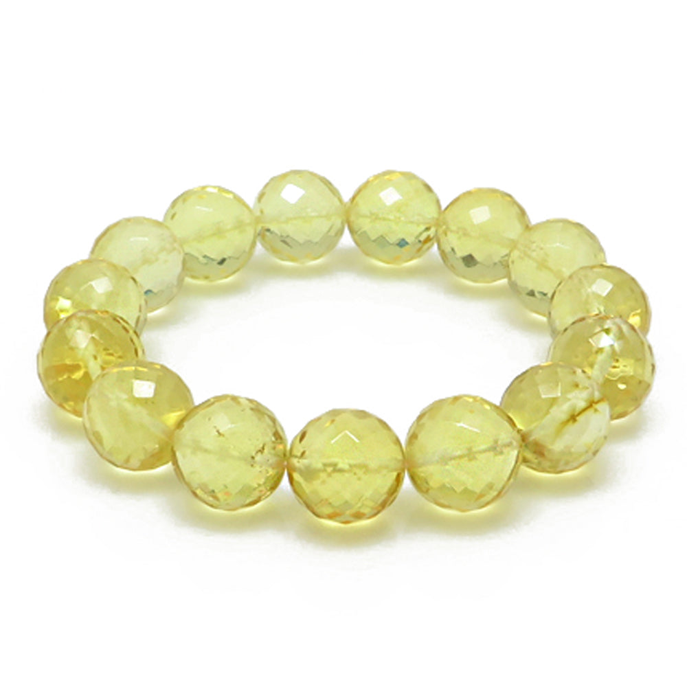 Lemon Amber Faceted Round Beads Stretch Bracelet - Amber Alex Jewelry