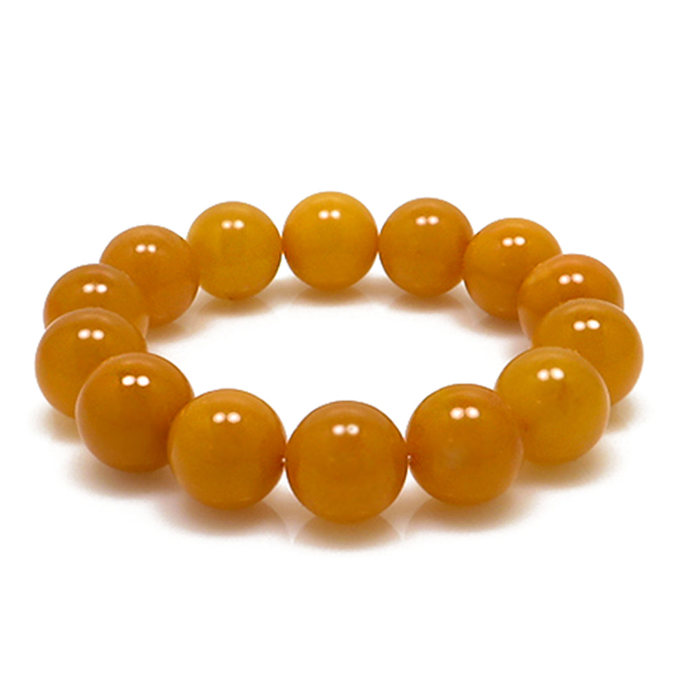 Antique Amber Round Beads Stretch Bracelet - Amber Alex Jewelry