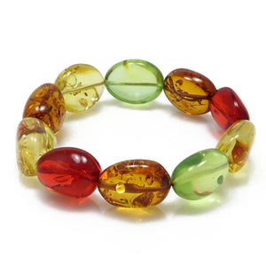 Multi-Color Amber Nugget Stretch Bracelet - Amber Alex Jewelry