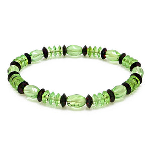 Green & Cherry Amber Beads Stretch Bracelet - Amber Alex Jewelry