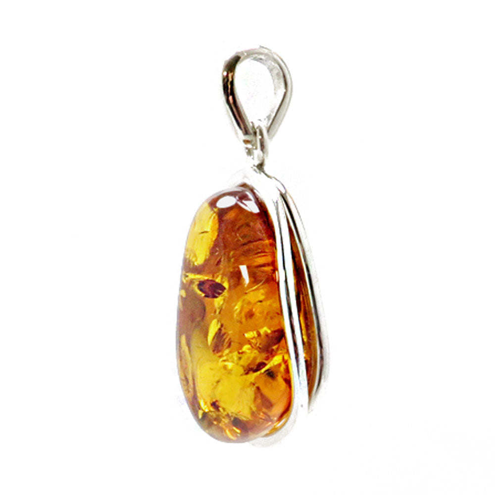 Cognac Amber Free Shape Pendant Sterling Silver - Amber Alex Jewelry