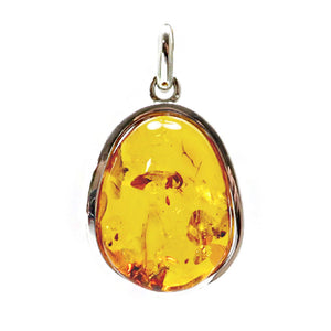 Cognac Amber Free Shape Pendant Sterling Silver