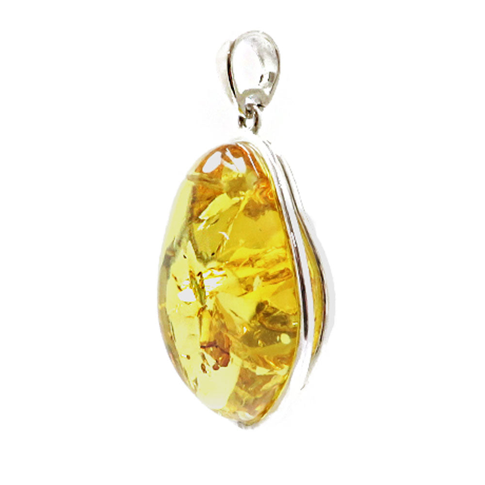Lemon Amber Free Shape Pendant Sterling Silver - Amber Alex Jewelry