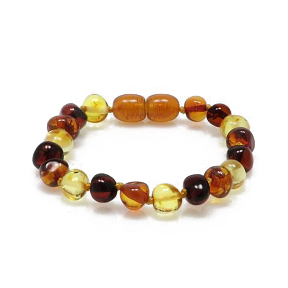 """KIDDO"" Multi-Color Amber Beads Baby Bracelet - Amber Alex Jewelry"