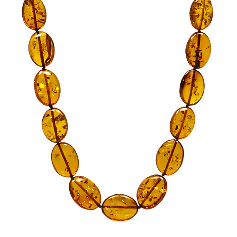 Cognac Amber Bean Beads Necklace - Amber Alex Jewelry