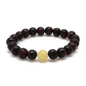 Cherry & Milky Amber Baroque Beads Stretch Bracelet - Amber Alex Jewelry