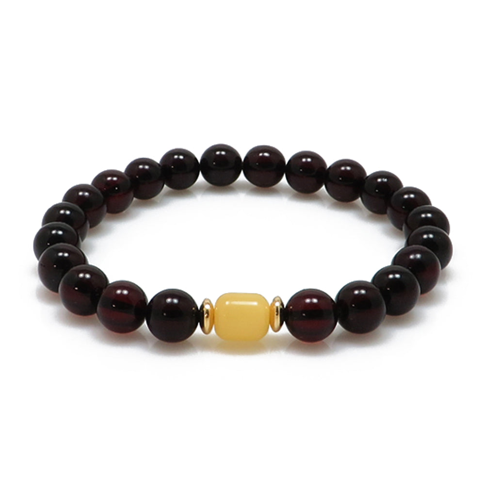 Cherry & Milky Amber Round Beads Stretch Bracelet 14K Gold Plated - Amber Alex Jewelry