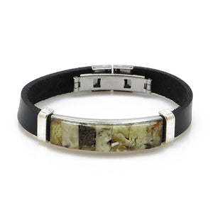 Men's Black Faux Leather Bracelet with Amber Mosaic - Amber Alex Jewelry