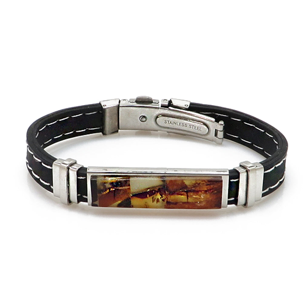 Men's Black Bracelet with Amber Mosaic - Amber Alex Jewelry