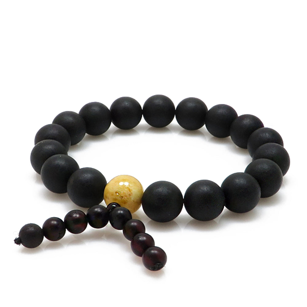 Black & White Amber Round Beads Buddhist Stretch Bracelet - Amber Alex Jewelry