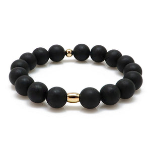 Black Amber Round Beads Stretch Bracelet 14K Gold Plated - Amber Alex Jewelry