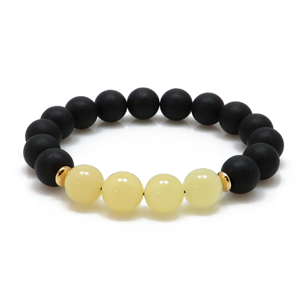 Black & White Amber Round Beads Stretch Bracelet - Amber Alex Jewelry