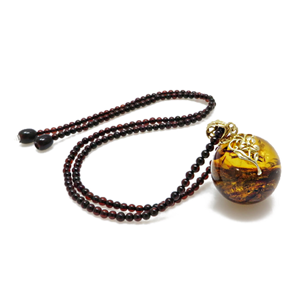 Cognac Amber Round Bead Pendant Beaded Necklace - Amber Alex Jewelry