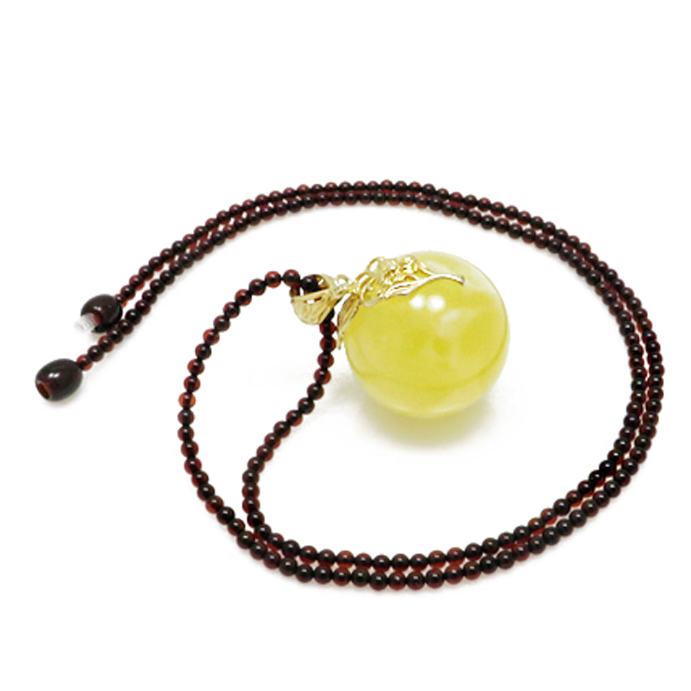 Milky Amber Round Bead Pendant Beaded Necklace - Amber Alex Jewelry