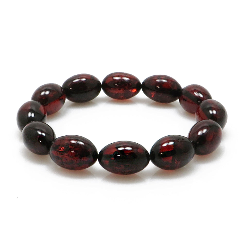 Cherry Amber Olive Beads Stretch Bracelet - Amber Alex Jewelry