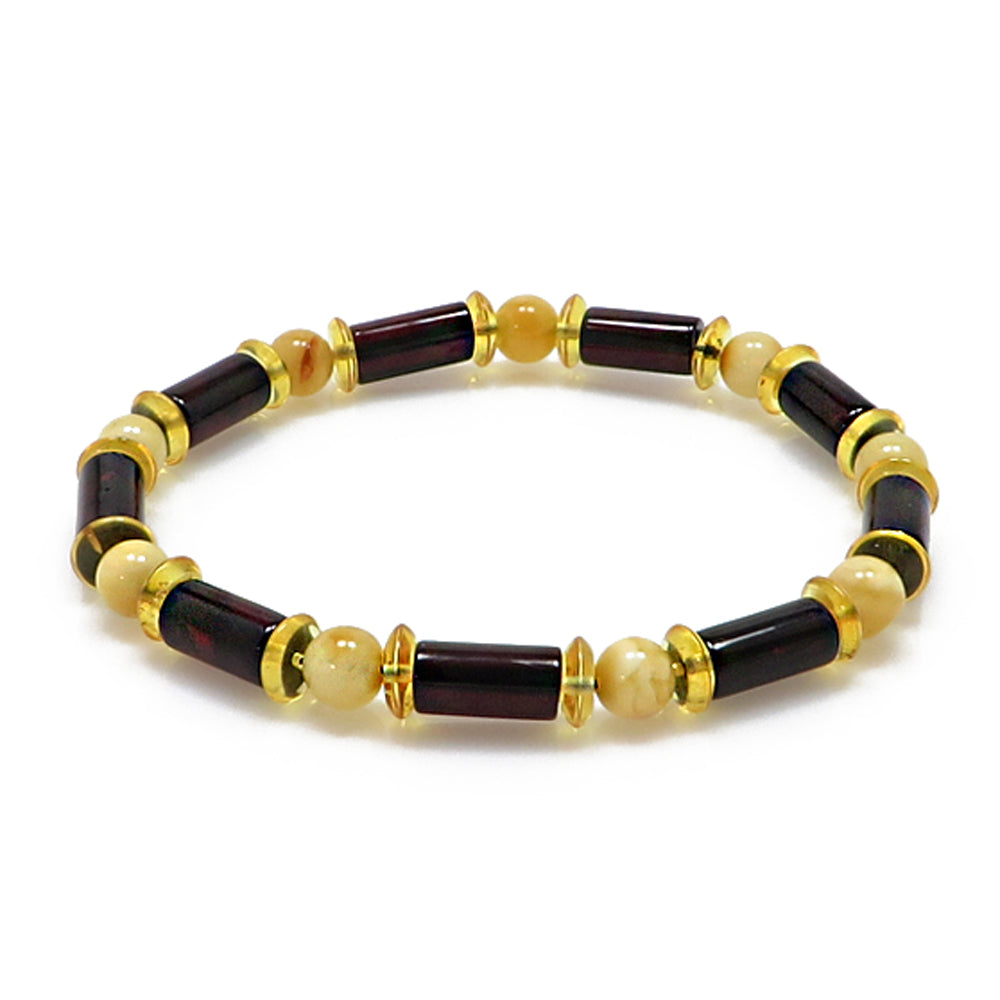 Men's Multi-Color Amber Beads Stretch Bracelet - Amber Alex Jewelry