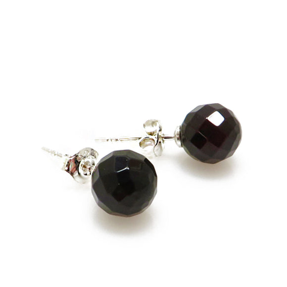 Cherry Amber Faceted Round Bead Stud Earrings Sterling Silver - Amber Alex Jewelry