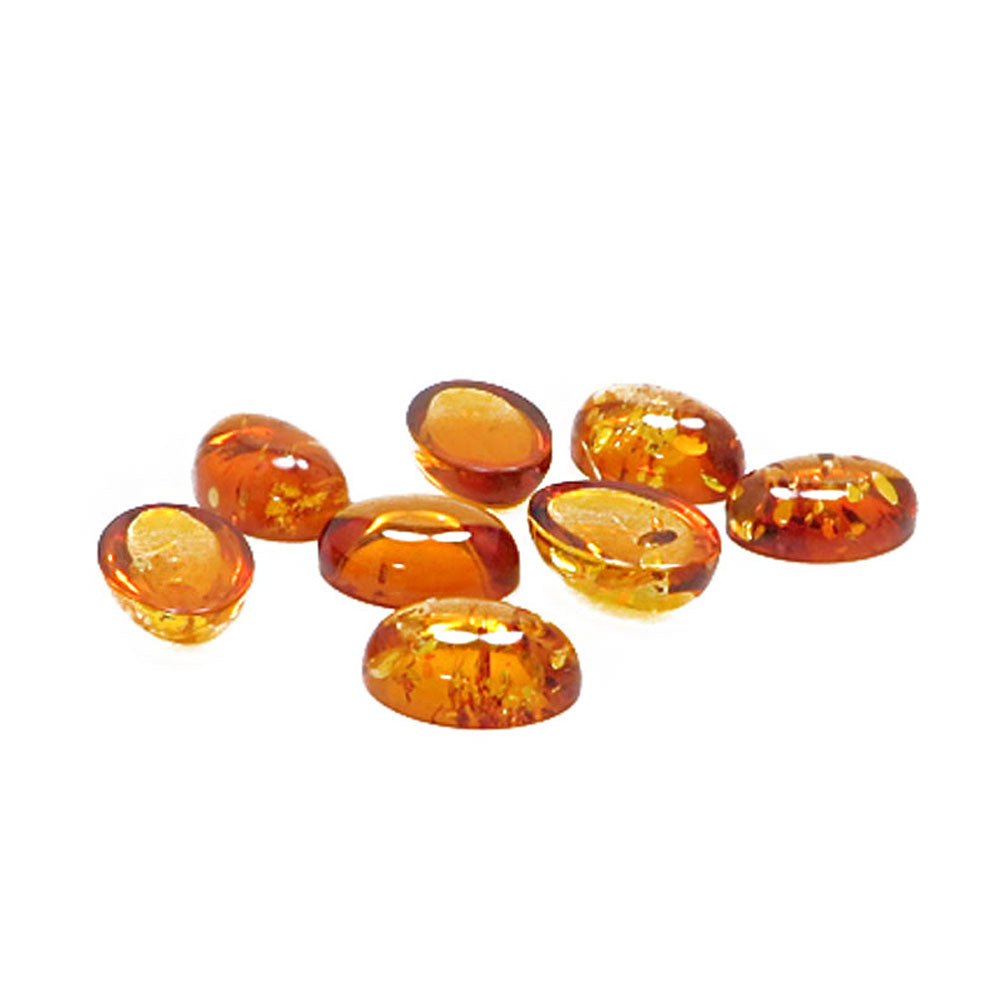 Cognac Amber Calibrated Oval Cabochons - Amber Alex Jewelry