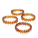 Cognac Amber Marquise Beads Stretch Bracelet - Amber Alex Jewelry