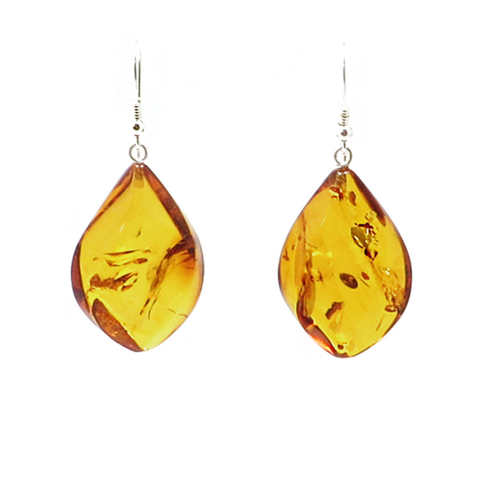 Cognac Amber Flame Dangle Earrings Sterling Silver - Amber Alex Jewelry