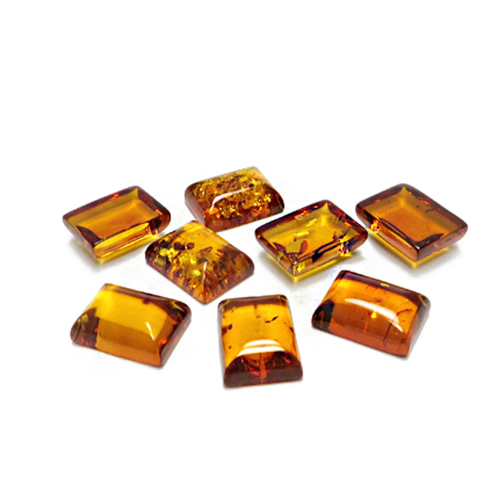 Cognac Amber Calibrated Rectangular Cabochons - Amber Alex Jewelry