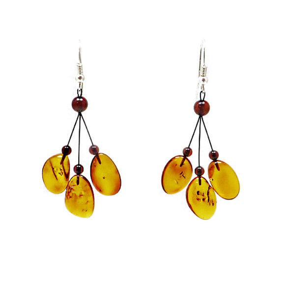 Night Magic Cognac Amber Dangle Earrings Sterling Silver - Amber Alex Jewelry