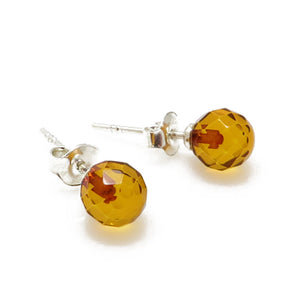 Cognac Amber Faceted Round Beads Stud Earrings Sterling Silver - Amber Alex Jewelry