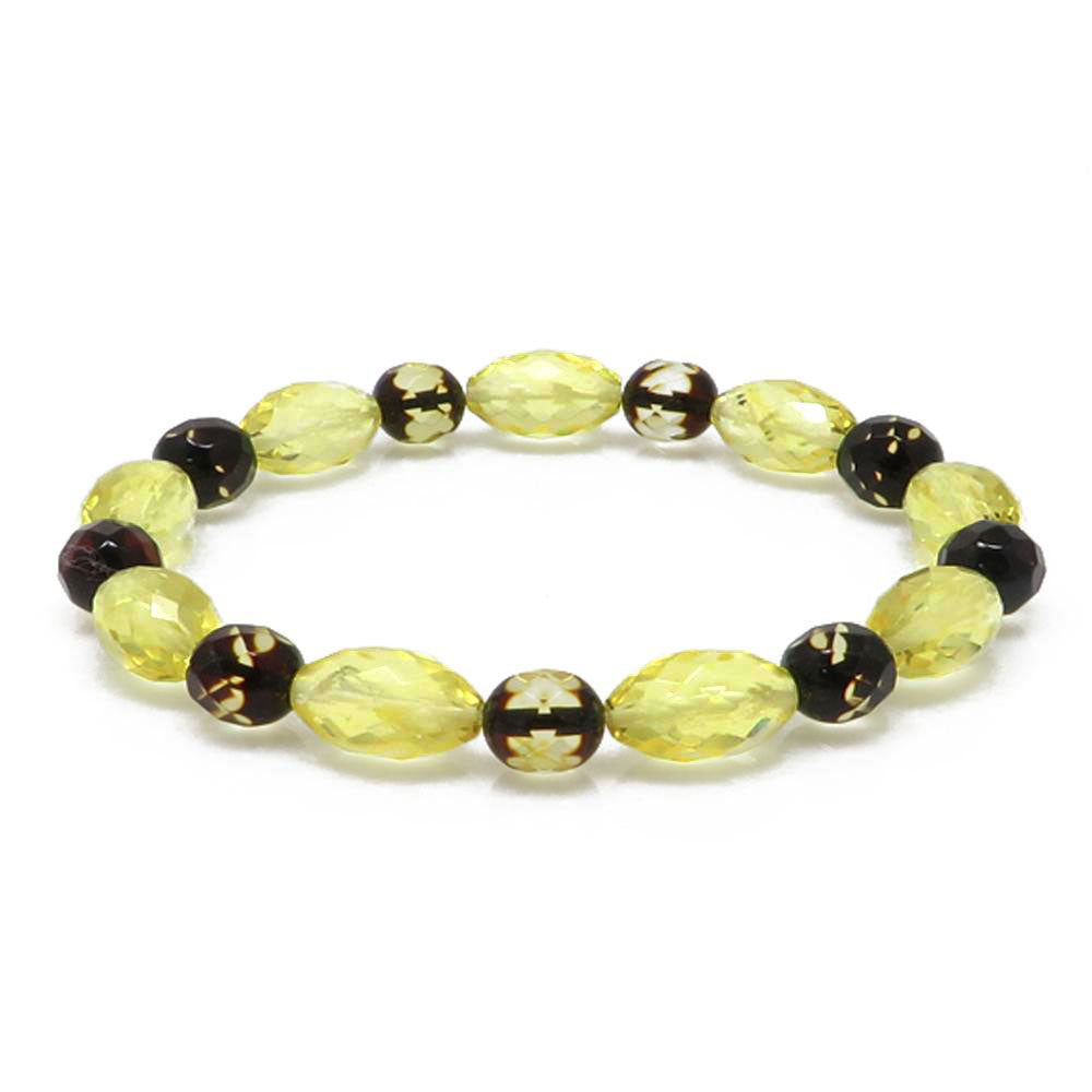 Multi-Color Amber Faceted Beads Stretch Bracelet - Amber Alex Jewelry