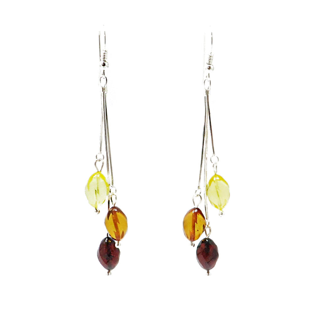 Multi-Color Amber Faceted Olive Bead Dangle Earrings - Amber Alex Jewelry