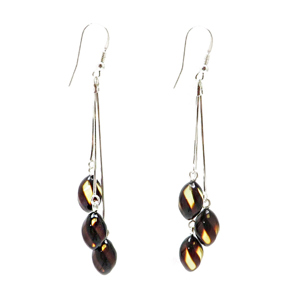 Faceted Amber Twisted Olives Dangle Earrings Sterling Silver - Amber Alex Jewelry