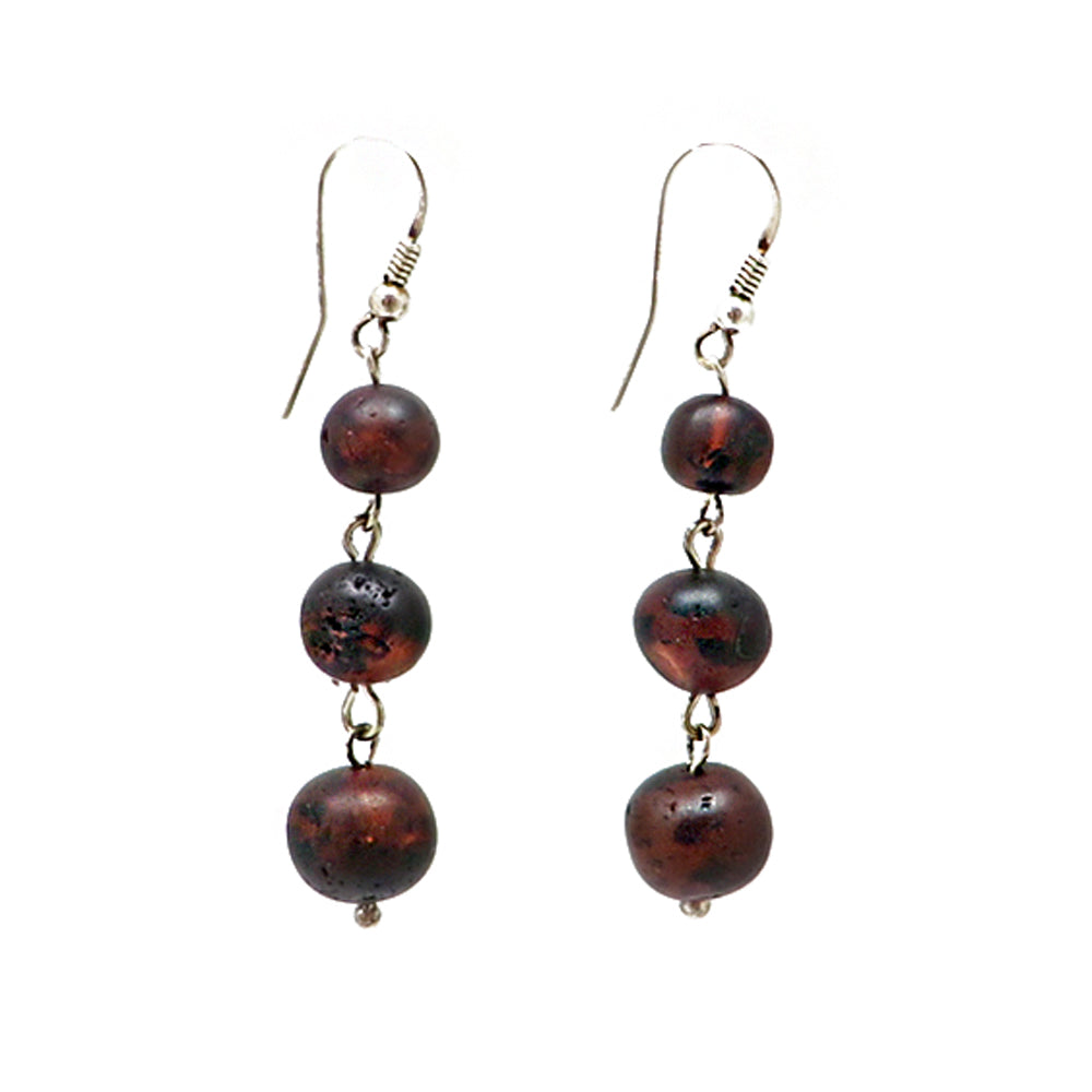 Cherry Amber Baroque Beads Dangle Earrings Sterling Silver - Amber Alex Jewelry
