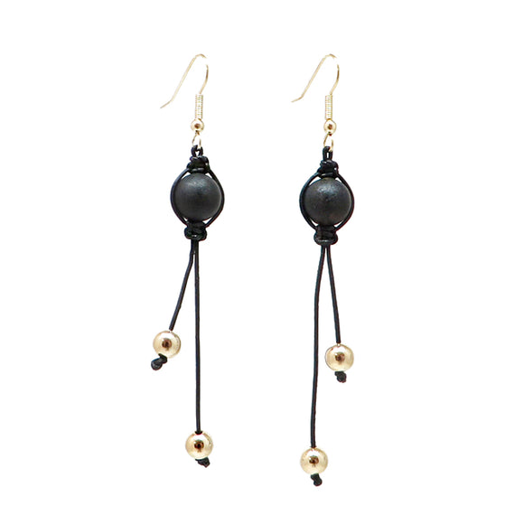 Black Amber Round Beads Dangle Earrings 14k Gold Plated - Amber Alex Jewelry