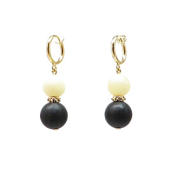 Black & White Amber Round Beads Drop Earrings 14k Gold Plated - Amber Alex Jewelry