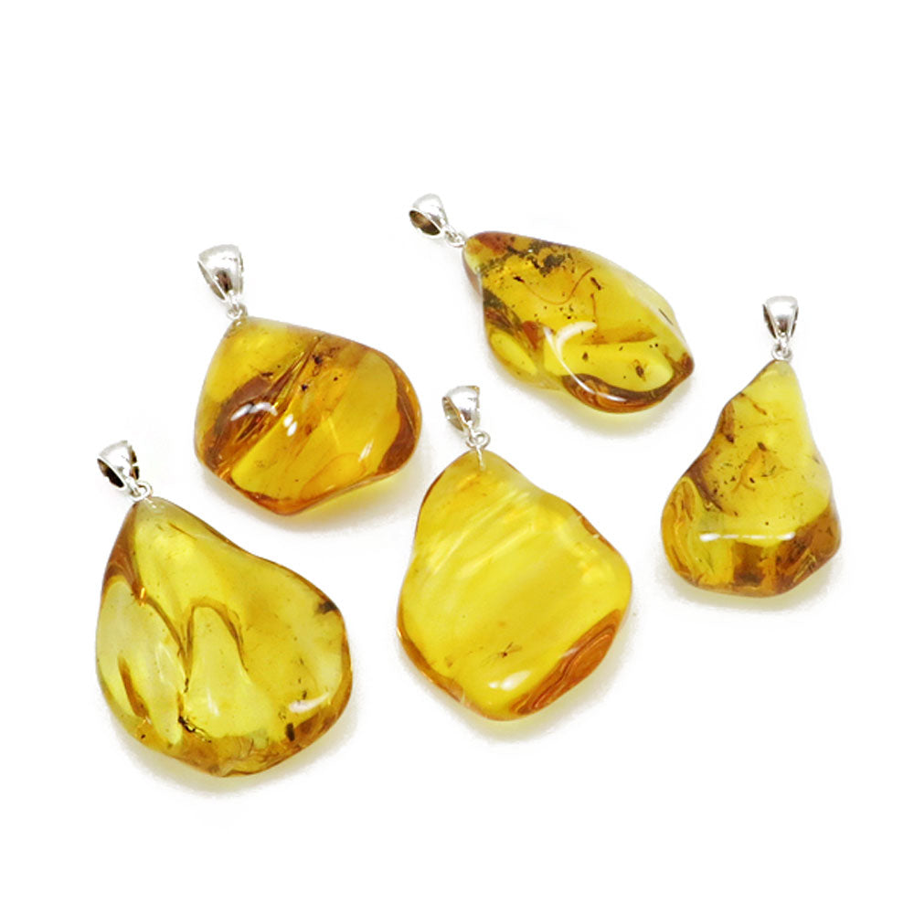 Insect Amber Wave Pendant Sterling Silver - Amber Alex Jewelry