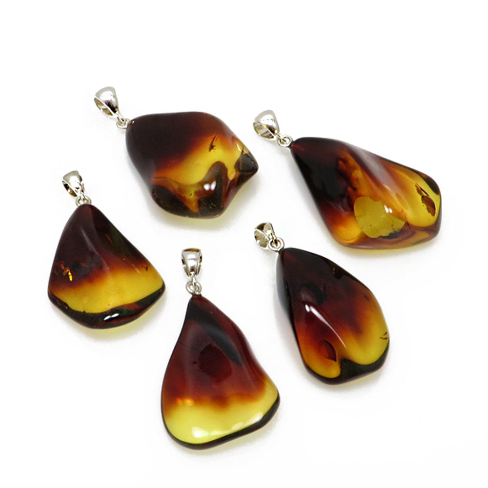 Gradient Amber Wave Pendant Sterling Silver - Amber Alex Jewelry