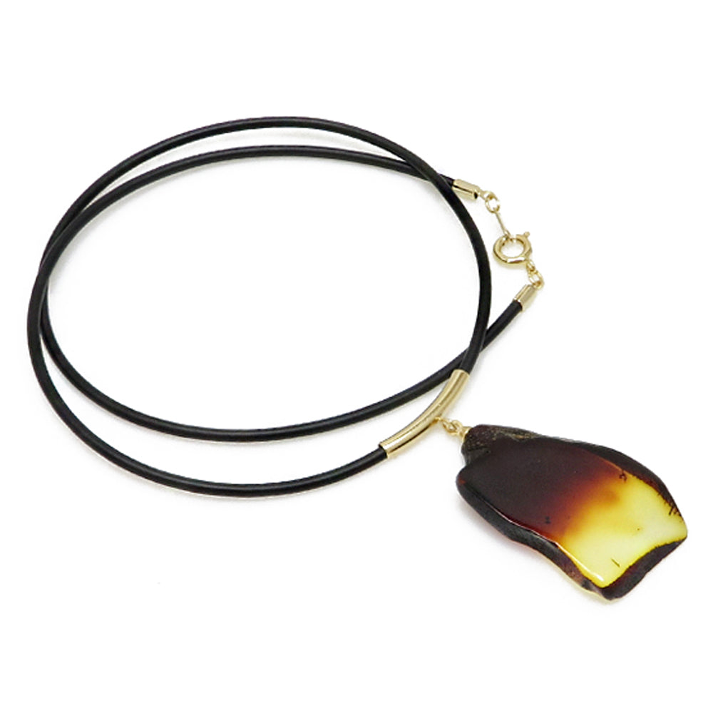 Gradient Amber Slab & Leather Necklace - Amber Alex Jewelry