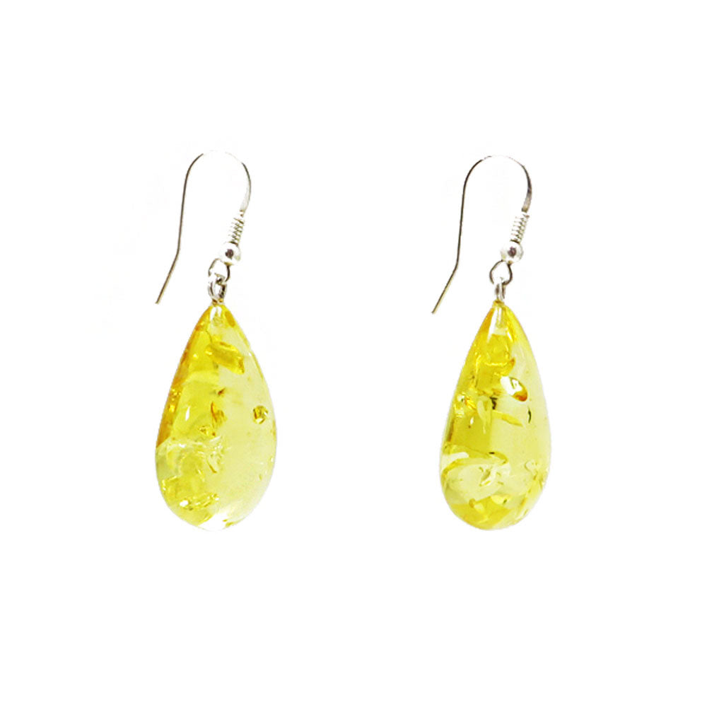 Lemon Amber Drop Dangle Earrings Sterling Silver - Amber Alex Jewelry