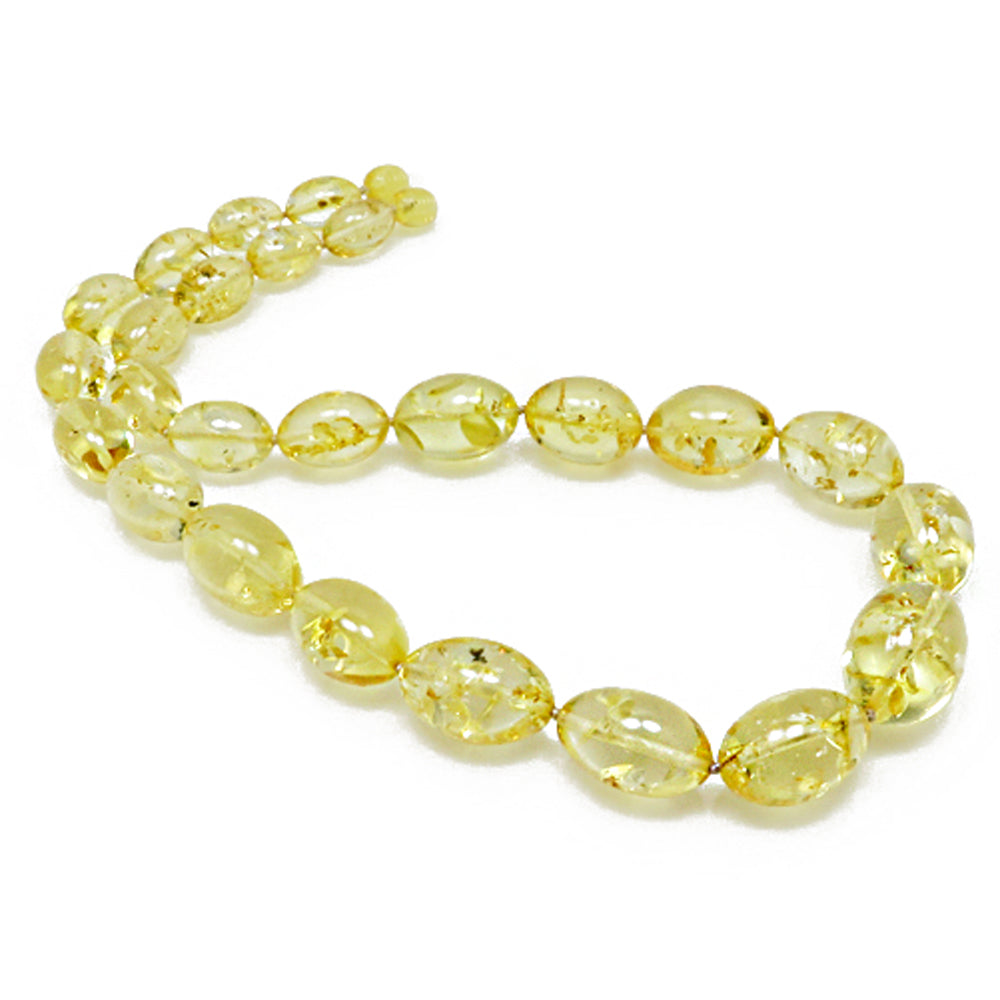 Lemon Amber Olive Beads Necklace - Amber Alex Jewelry