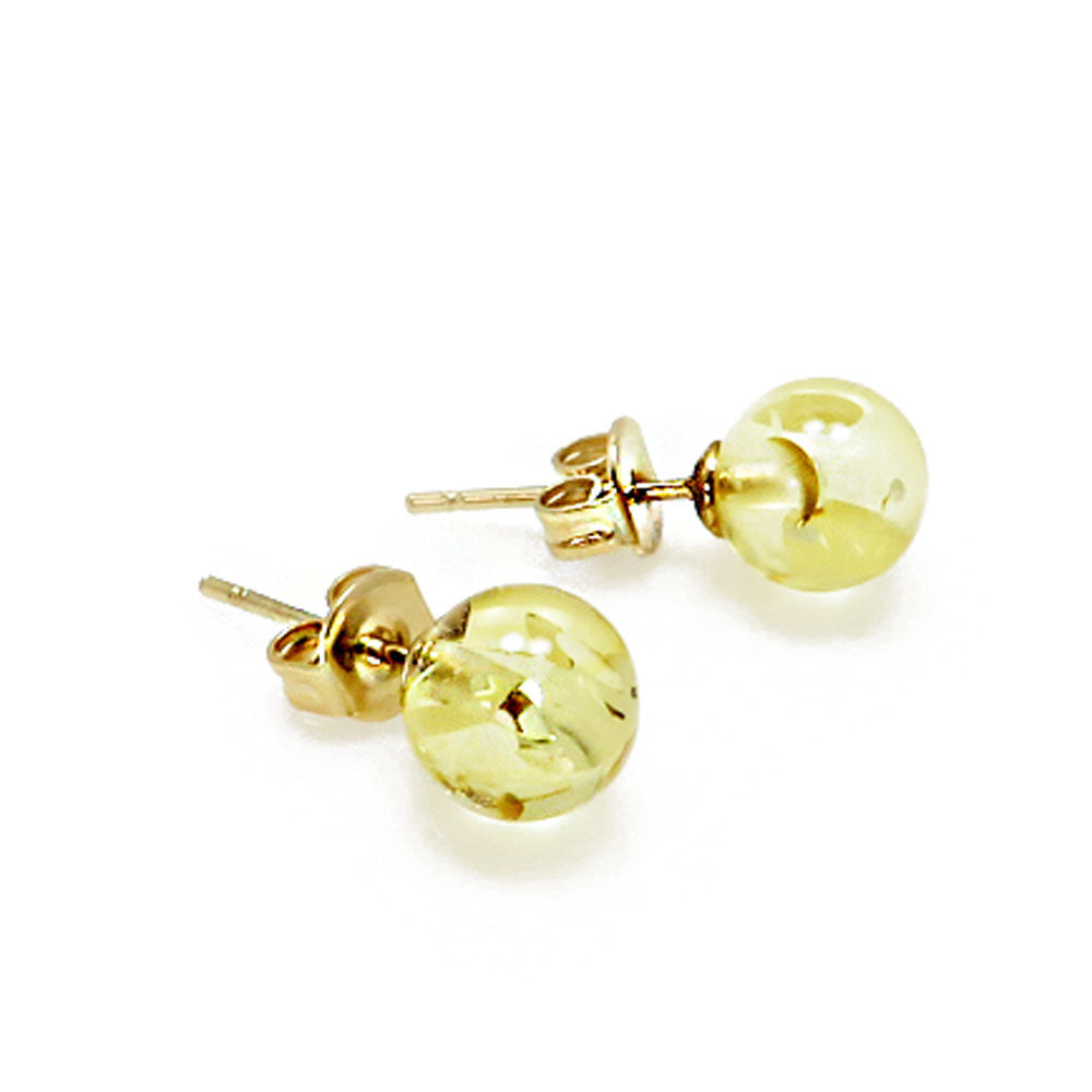Lemon Amber Round Bead Stud Earrings 14K Gold Plated - Amber Alex Jewelry