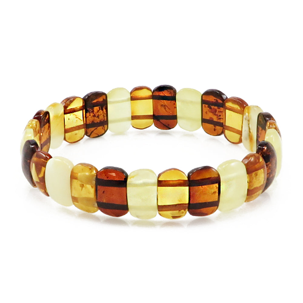 Multi-Color Amber Oval Beads Stretch Bracelet - Amber Alex Jewelry