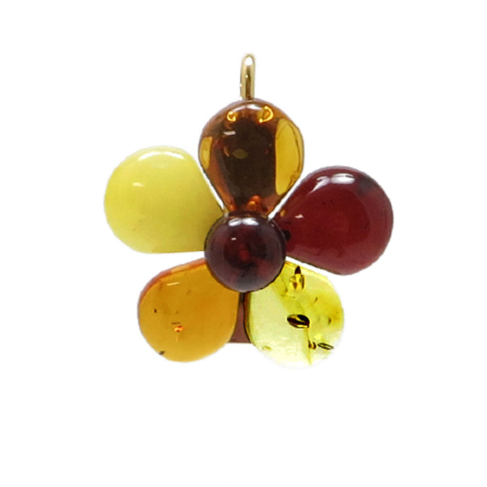 Multi-Color Amber Flower Brooch - Pendant - Amber Alex Jewelry