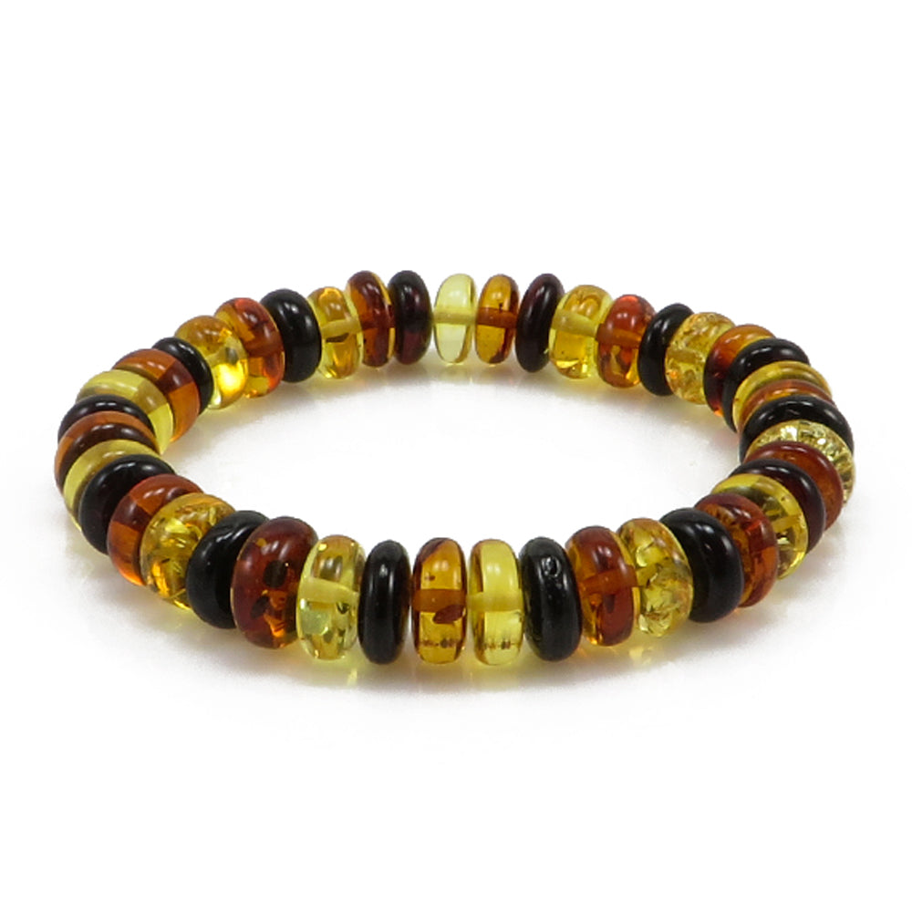 Multi-Color Amber Tablets Stretch Bracelet - Amber Alex Jewelry