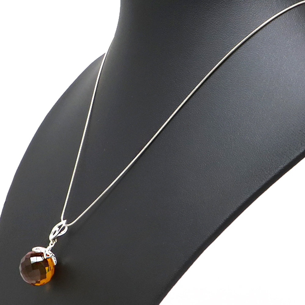 Cognac Amber Faceted Round Bead Pendant & Chain Necklace Sterling Silver - Amber Alex Jewelry