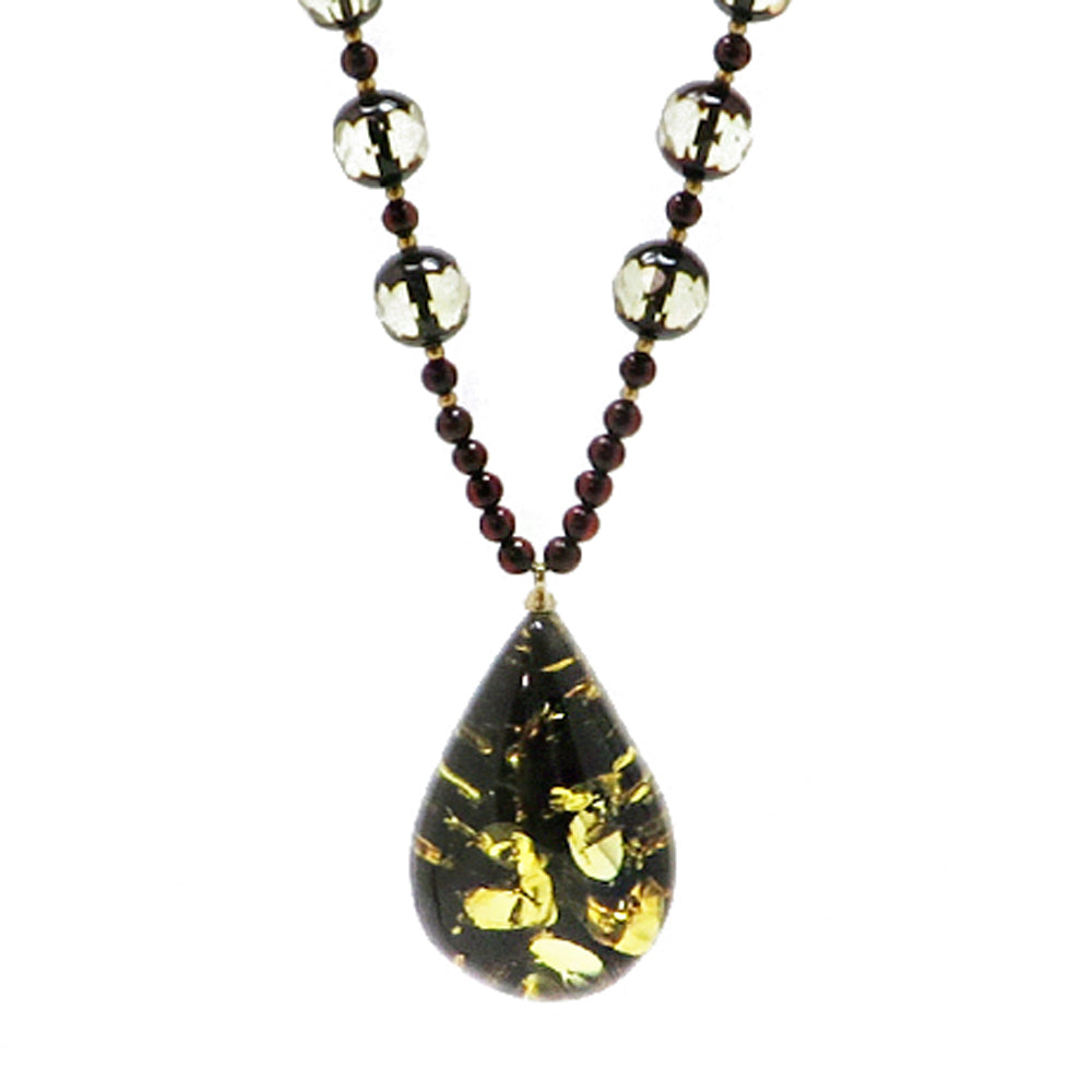 Earth Stone Amber Drop Pendant Beaded Necklace - Amber Alex Jewelry