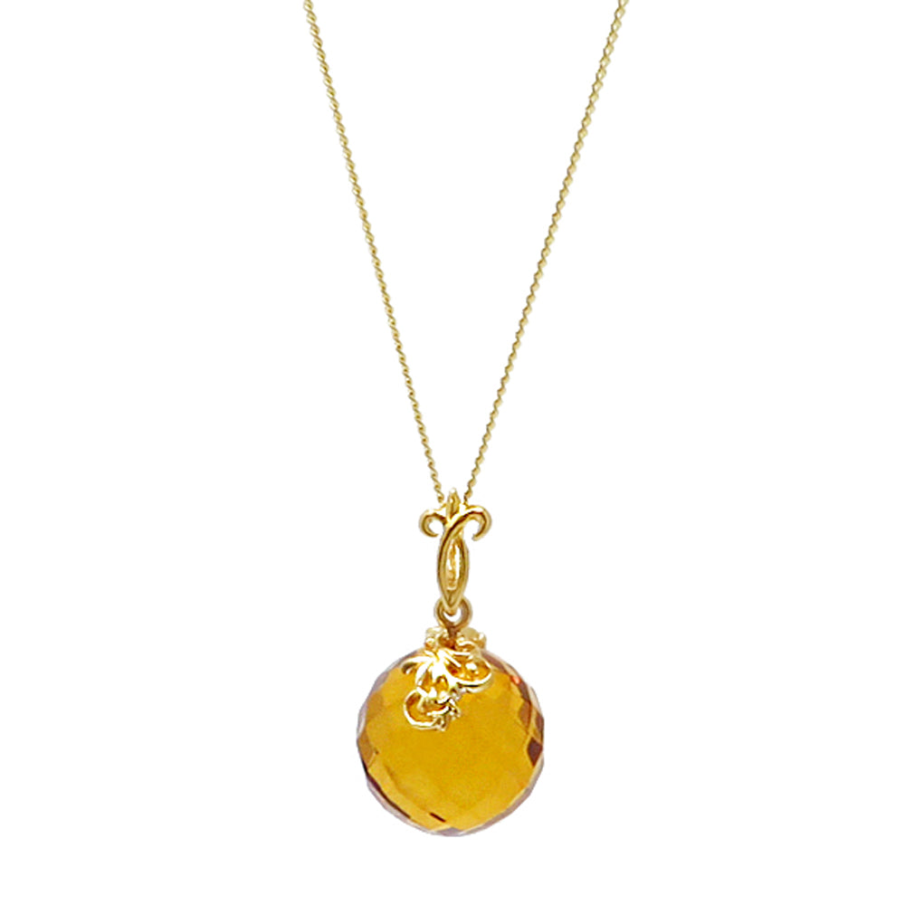 Cognac Amber Faceted Round Bead Pendant & Chain Necklace 14 Gold Plated - Amber Alex Jewelry