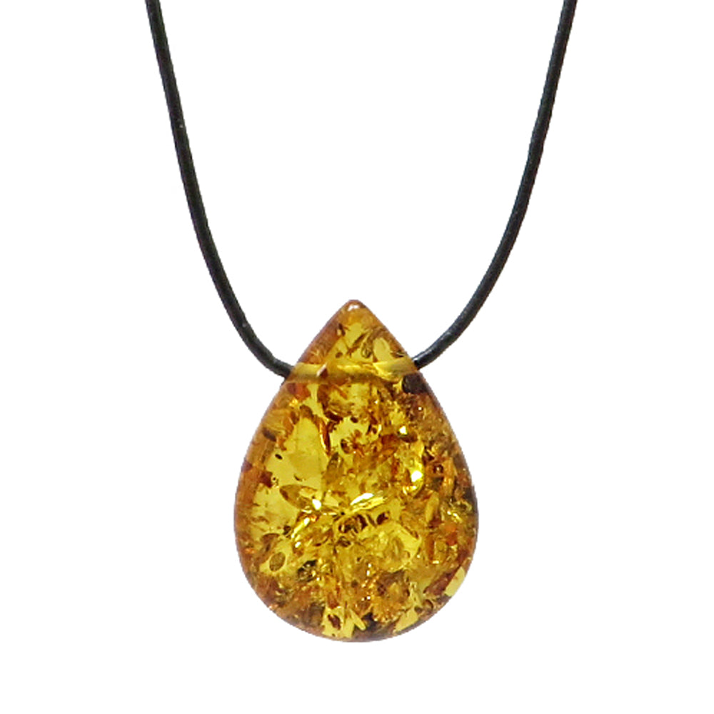 Cognac Amber Drop Pendant & Leather Necklace - Amber Alex Jewelry