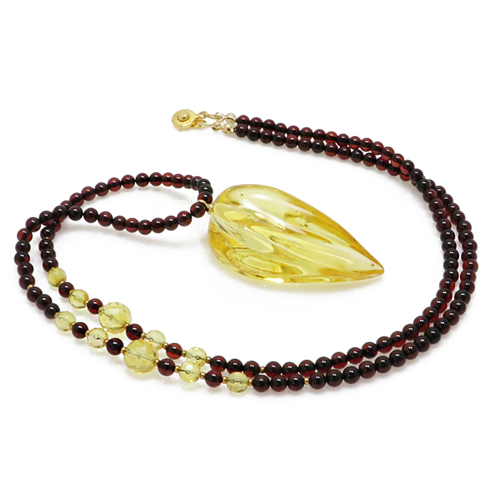 Lemon Amber Wave Pendant Beaded Necklace - Amber Alex Jewelry