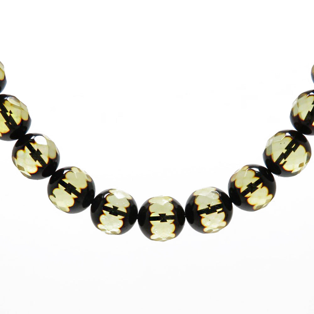 Faceted Amber Round Beads Necklace - Amber Alex Jewelry