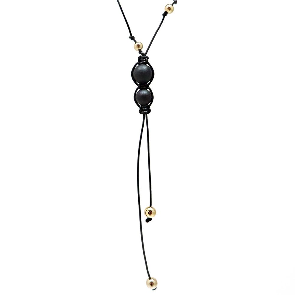 Black Amber Round Beads & Leather Adjustable Necklace - Amber Alex Jewelry