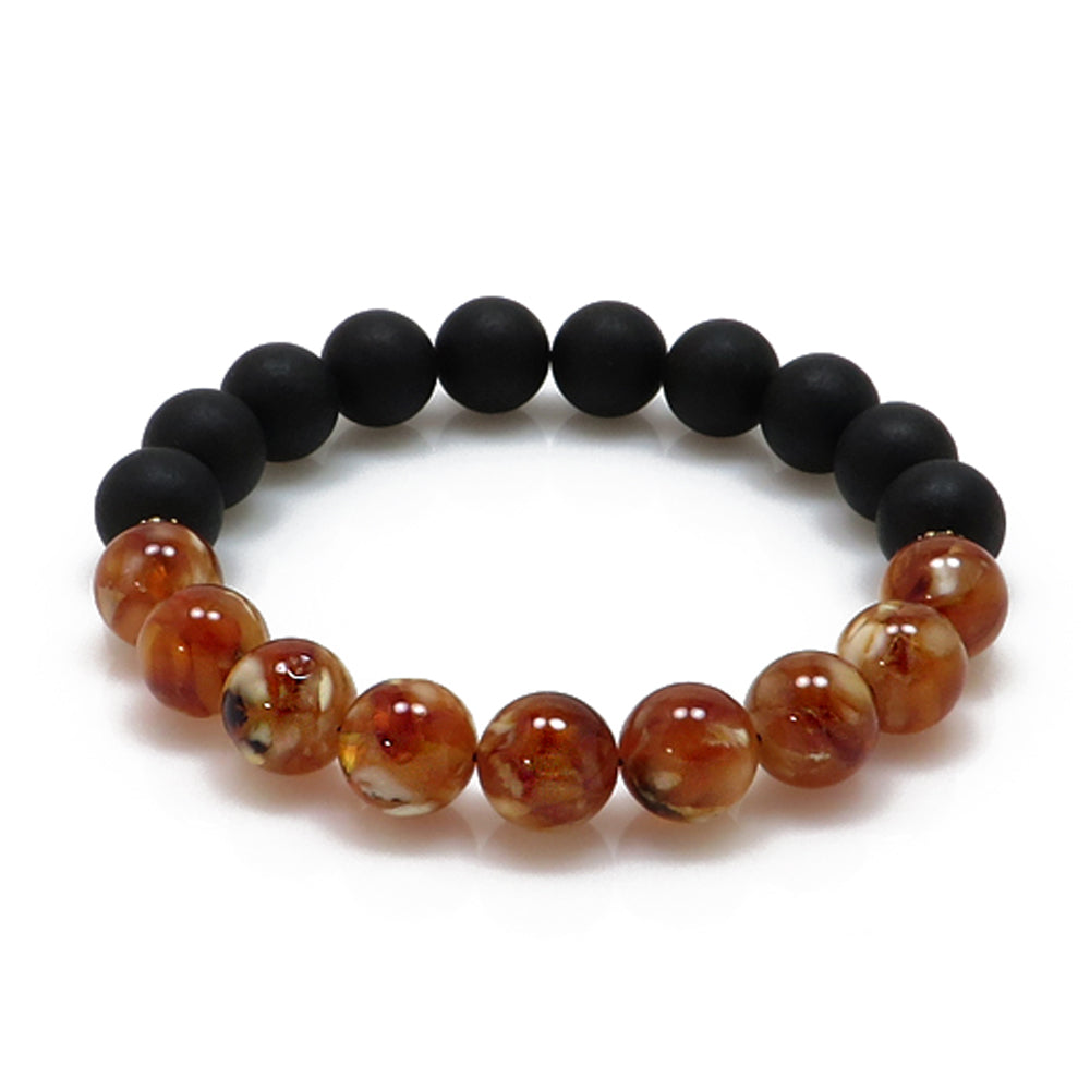 Black & Marble Amber Round Beads Stretch Bracelet - Amber Alex Jewelry